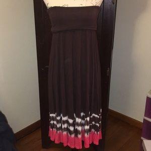 INC Brown & Coral Strapless dress/Maxi Skirt L